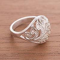 Sterling silver cocktail ring, 'Opulent' - Sterling Silver Leaf Motif Openwork Cocktail Ring from Peru