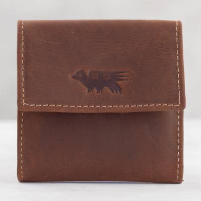 Mens leather coin wallet, Esquire in Dark Brown