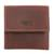 Men's leather coin wallet, 'Esquire in Dark Brown' - Men's Two Compartment Dark Brown Leather Coin Wallet (image 2a) thumbail