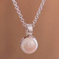 Cultured pearl pendant necklace, 'Peach Bloom' - Peach Cultured Pearl and Sterling Silver Pendant Necklace