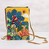 Appliqué mini shoulder bag, 'Macaws in the Jungle' - Colorful Jungle Scene Cotton Blend Appliqué Shoulder Bag