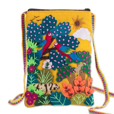 Novica Appliqué mini shoulder bag, Valley Home