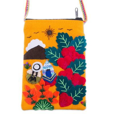 Andean Mountain Couple Cotton Blend Appliqué Shoulder Bag