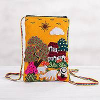 Applique mini shoulder bag, 'Valley Home' - Andean Shepherdess Scene Cotton Blend Appliqué Shoulder Bag