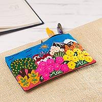 Appliqué pencil case, 'Colors of the Andes' - Colorful Andean Scene Cotton Blend Appliqué Pencil Case