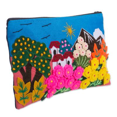Colorful Andean Scene Cotton Blend Appliqu?�?�?�?� Pencil Case