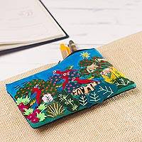 Appliqué pencil case, 'Exotic Jungle' - Colorful Jungle Scene Cotton Blend Appliqué Pencil Case