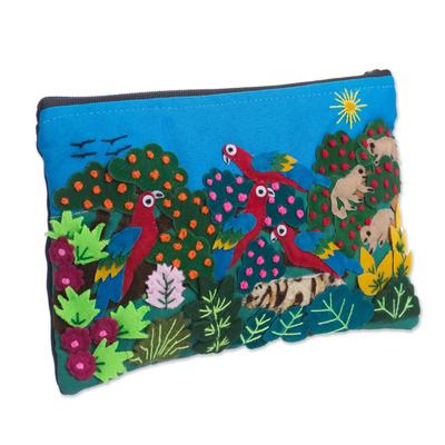 Colorful Jungle Scene Cotton Blend Appliqu?�?�?�?� Pencil Case