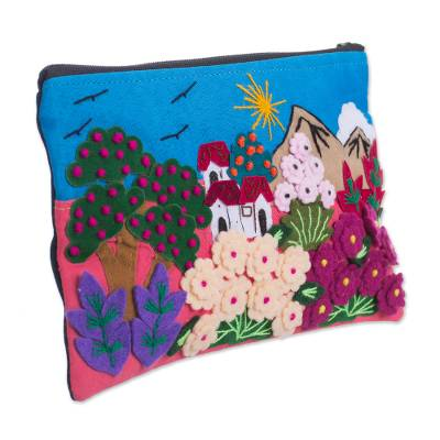 Colorful Andean Gardens Cotton Blend Appliqu?�?� Pencil Case