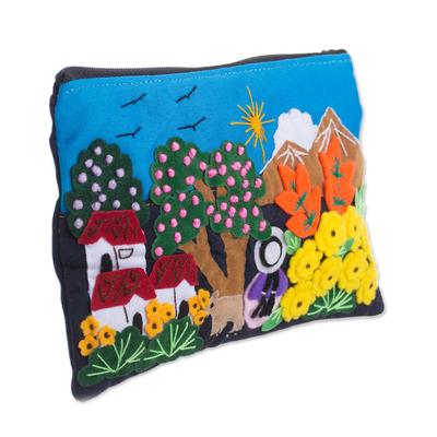 Colorful Mountain Home Cotton Blend Appliqu?�?� Pencil Case