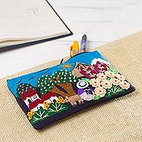 Appliqué pencil case, 'Andes at Dawn' - Colorful Andean Dawn Cotton Blend Appliqué Pencil Case