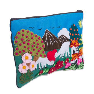 Grazing Alpacas Colorful Cotton Blend Appliqu?�?� Pencil Case
