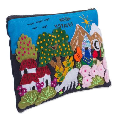 Novica Appliqué pencil case, Flourishing Gardens
