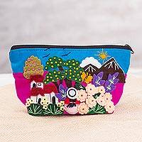 Appliqué cosmetics bag, 'Glory of the Andes' - Colorful Andean Valley Cotton Blend Appliqué Cosmetics Bag