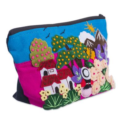 Colorful Andean Valley Cotton Blend Appliqu?�?�?�?� Cosmetics Bag