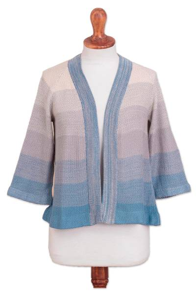 Pima cotton and viscose blend cardigan, 'Spring Sky' - Cotton and Viscose Blend Cardigan in Light Cadet Blue