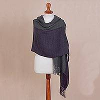 Reversible 100% baby alpaca shawl, 'Elegant Duality' - 100% Baby Alpaca Shawl in Aubergine and Grey from Peru