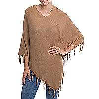 Alpaca blend poncho, 'Cocoa Swirls' - Camel Brown Alpaca Blend Knit Poncho Hand Crocheted Trim