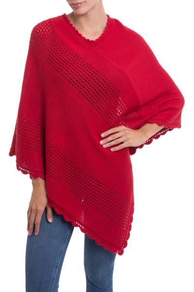 Alpaca blend poncho, 'Dramatic Style' - Red Alpaca Blend Knit Poncho with Hand Crocheted Trim