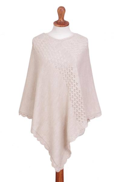 Alpaca blend poncho, 'Snow Showers' - Ivory Alpaca Blend Knit Poncho with Hand Crocheted Trim