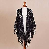100% alpaca shawl, 'Amazon Black' - Crocheted 100% Alpaca Shawl in Black from Peru