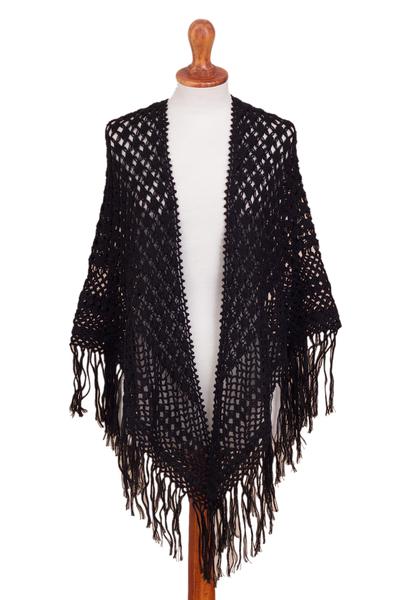 100% alpaca shawl, 'Amazon Black' - Crocheted 100% Alpaca Shawl in Black from Peru