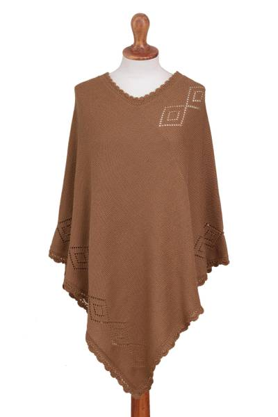Alpaca blend poncho, 'Diamond Dunes' - Burnt Sienna Alpaca Blend Knit Poncho Hand Crocheted Trim