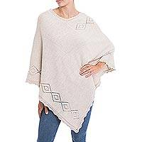 Alpaca blend poncho, 'Diamond Ecru' - Diamond Motif Alpaca Blend Poncho in Ecru from Peru