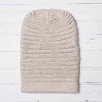 Alpaca blend knit hat, 'Layers in Ivory' - Ivory Alpaca Blend Welt Pattern Hand Knit Hat from Peru