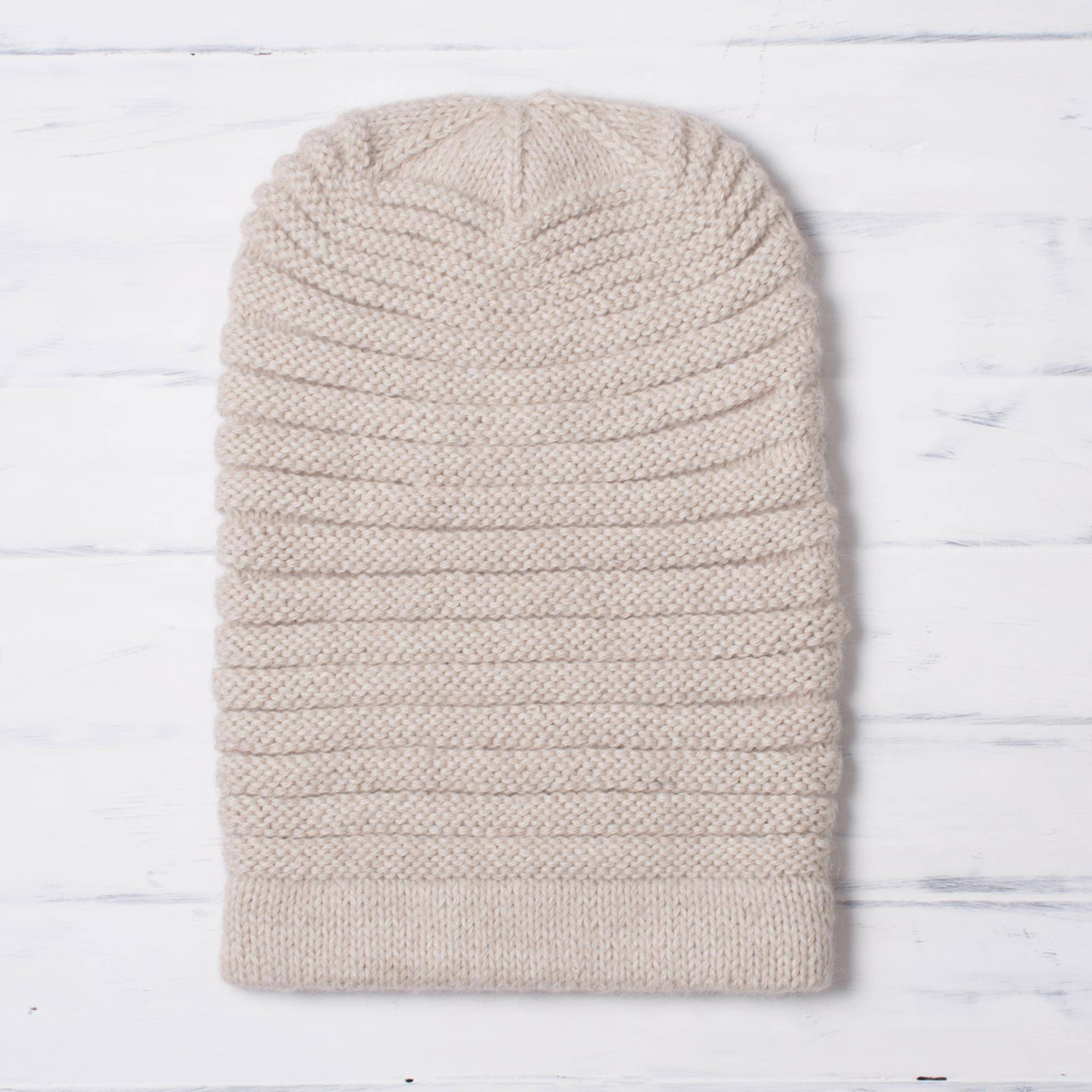 3c7f027dfd6 Ivory Alpaca Blend Welt Pattern Hand Knit Hat from Peru - Layers in ...