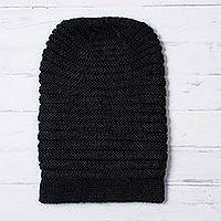 Alpaca blend hat, 'Layers in Black' - Unisex Black Alpaca Blend Welt Pattern Hand Knit Hat
