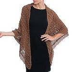 Brown Alpaca Blend Fan Motif and Picot Hand Crocheted Shawl, 'Burnt Sienna Lace'