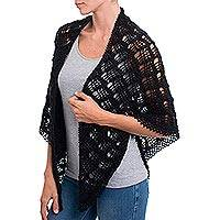 Alpaca blend shawl, 'Night Fun' - Crocheted Alpaca Blend Shawl in Black from Peru
