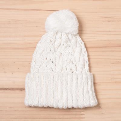103fca69851 Knit Alpaca Blend Hat in White from Peru - Snow White Braid