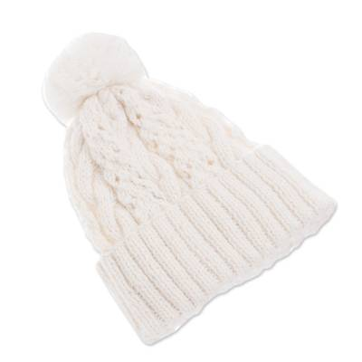 Alpaca blend hat, 'Snow White Braid' - Knit Alpaca Blend Hat in White from Peru