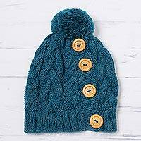 Alpaca blend knit cap, 'Cheery Hug in Turquoise' - Teal Alpaca Blend Buttons and Pompom Cabled Hand Knit Cap