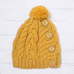 Yellow Alpaca Blend Buttons and Pompom Cabled Hand Knit Cap, 'Cheery Hug in Yellow'