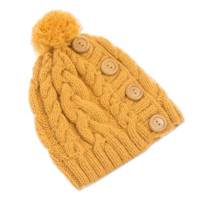 Alpaca blend knit cap, 'Cheery Hug in Yellow' - Yellow Alpaca Blend Buttons and Pompom Cabled Hand Knit Cap