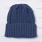 Unisex Azure Blue Alpaca Blend Ribbed Cable Hand Knit Cap, 'River Currents'