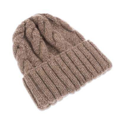 Alpaca blend knit cap, 'Salted Caramel' - Unisex Beige Alpaca Blend Cabled Hand Knit Cap from Peru