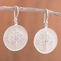 Sterling silver filigree dangle earrings, 'Personal Growth' - Tree of Life Sterling Silver Filigree Disc Dangle Earrings