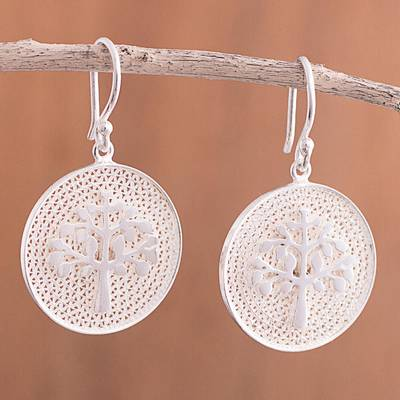 0c5ef1eb0 Sterling silver filigree dangle earrings, 'Personal Growth' - Tree of Life Sterling  Silver