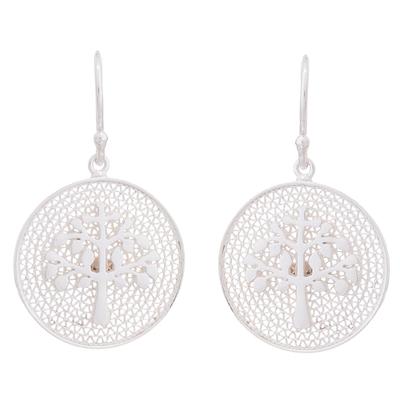 Sterling silver filigree dangle earrings, 'Personal Growth' - Tree of Life Sterling Silver Filigree Disc Dangle Earrings