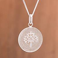 Sterling silver filigree pendant necklace, 'Personal Growth' - Tree of Life Sterling Silver Filigree Disc Pendant Necklace