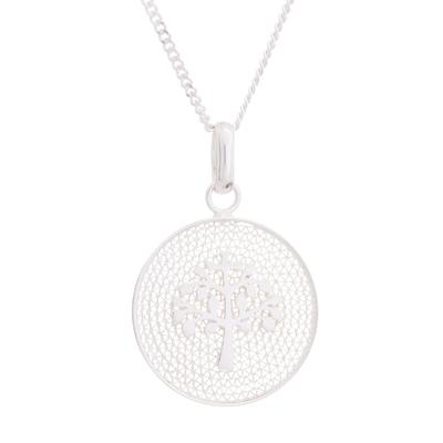 Sterling silver filigree pendant necklace, 'Personal Growth' - Tree of Life Sterling Silver Filigree Disc Pendant Necklace