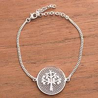 Sterling silver filigree pendant bracelet, 'Personal Growth' - Tree of Life Sterling Silver Filigree Disc Pendant Bracelet