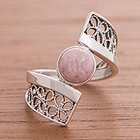 Rhodonite filigree cocktail ring, 'Cosmic Twist in Pink' - Rhodonite and Sterling Silver Filigree Band Cocktail Ring