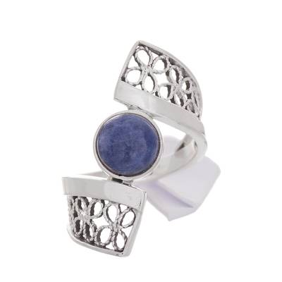 Sodalite and Sterling Silver Filigree Band Cocktail Ring
