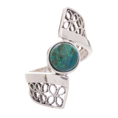 Chrysocolla and Sterling Silver Filigree Band Cocktail Ring