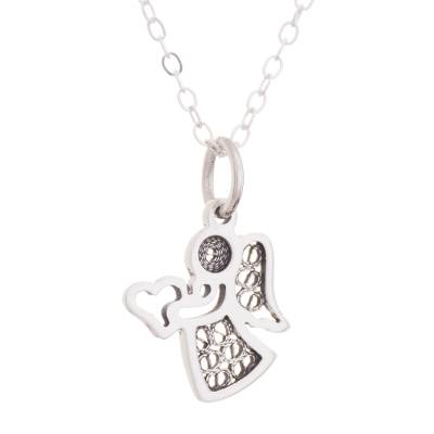 Sterling silver filigree pendant necklace, 'Love and Grace' - Sterling Silver Angel Pendant Necklace with Oxidized Filigre